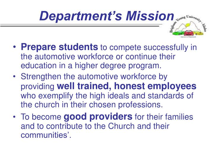 Department's Mission