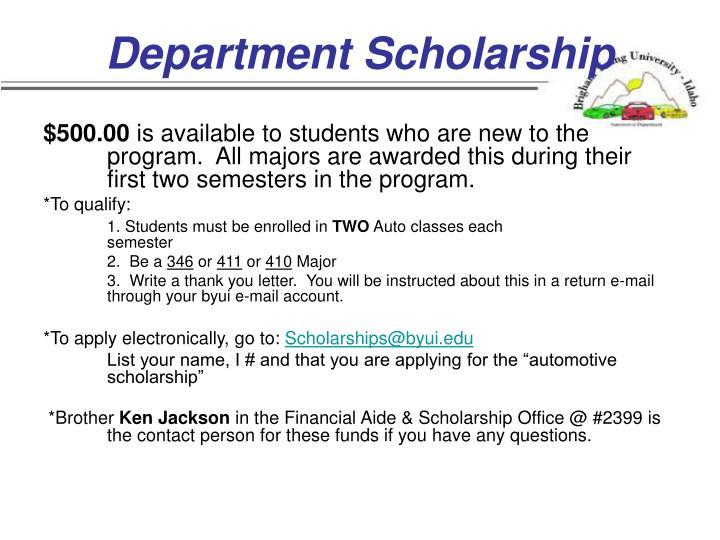 Department Scholarship