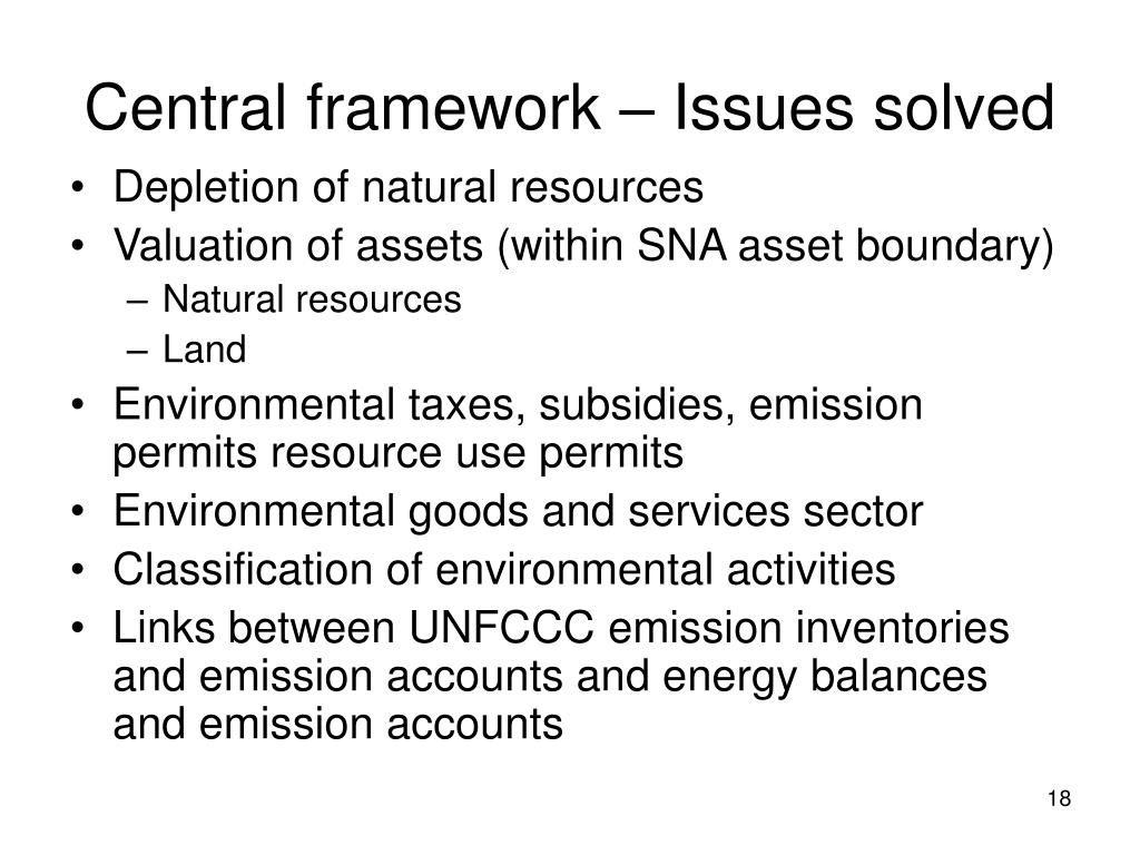 Central framework – Issues solved