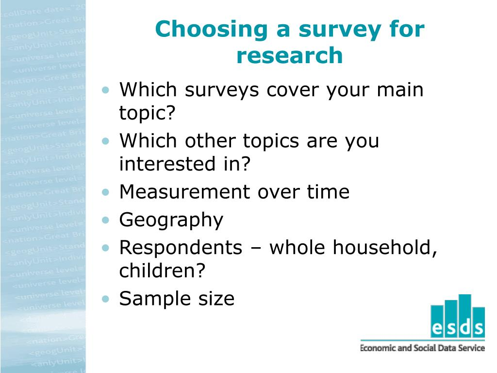 Choosing a survey for research