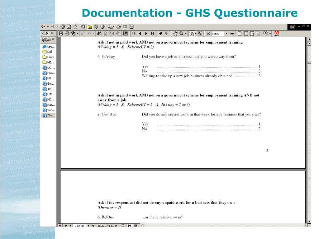 Documentation - GHS Questionnaire