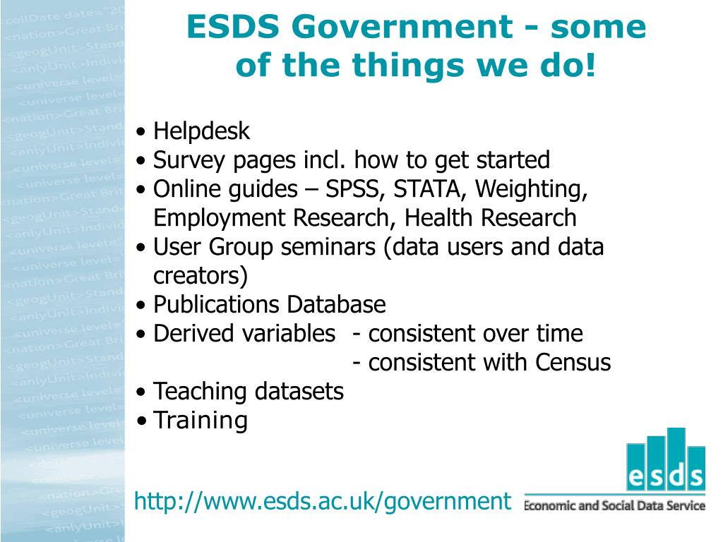 ESDS Government - some of the things we do!