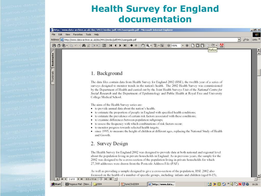 Health Survey for England documentation