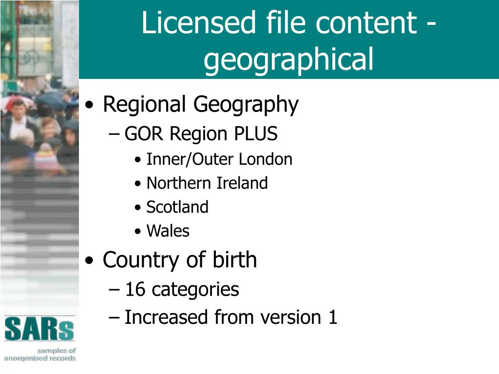 Licensed file content - geographical