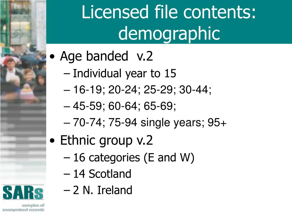 Licensed file contents: demographic