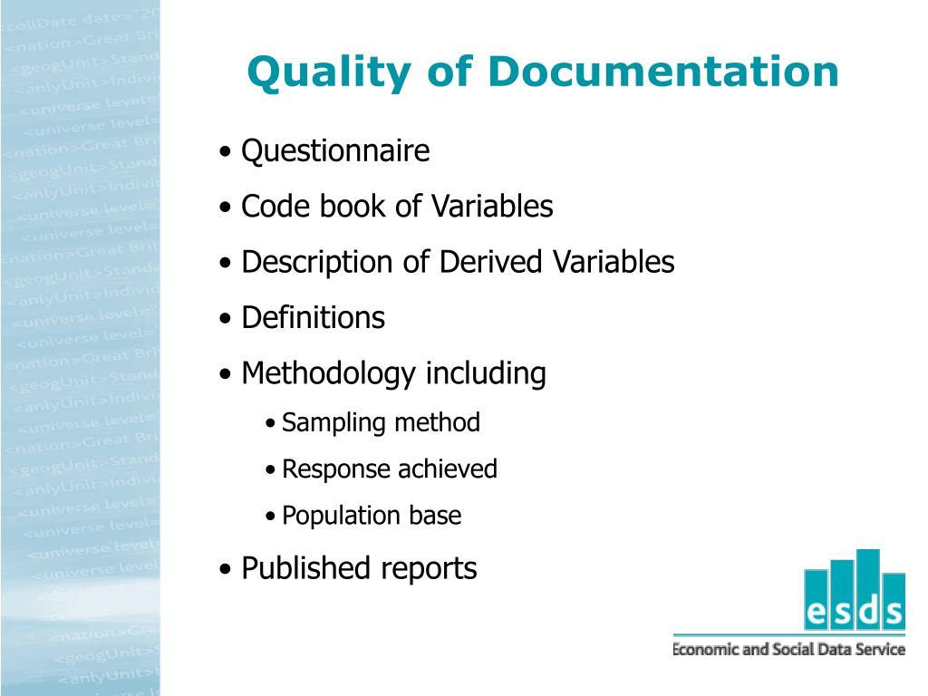 Quality of Documentation
