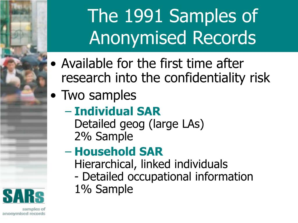 The 1991 Samples of Anonymised Records