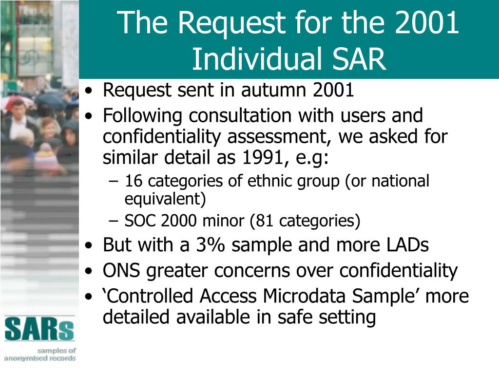 The Request for the 2001 Individual SAR