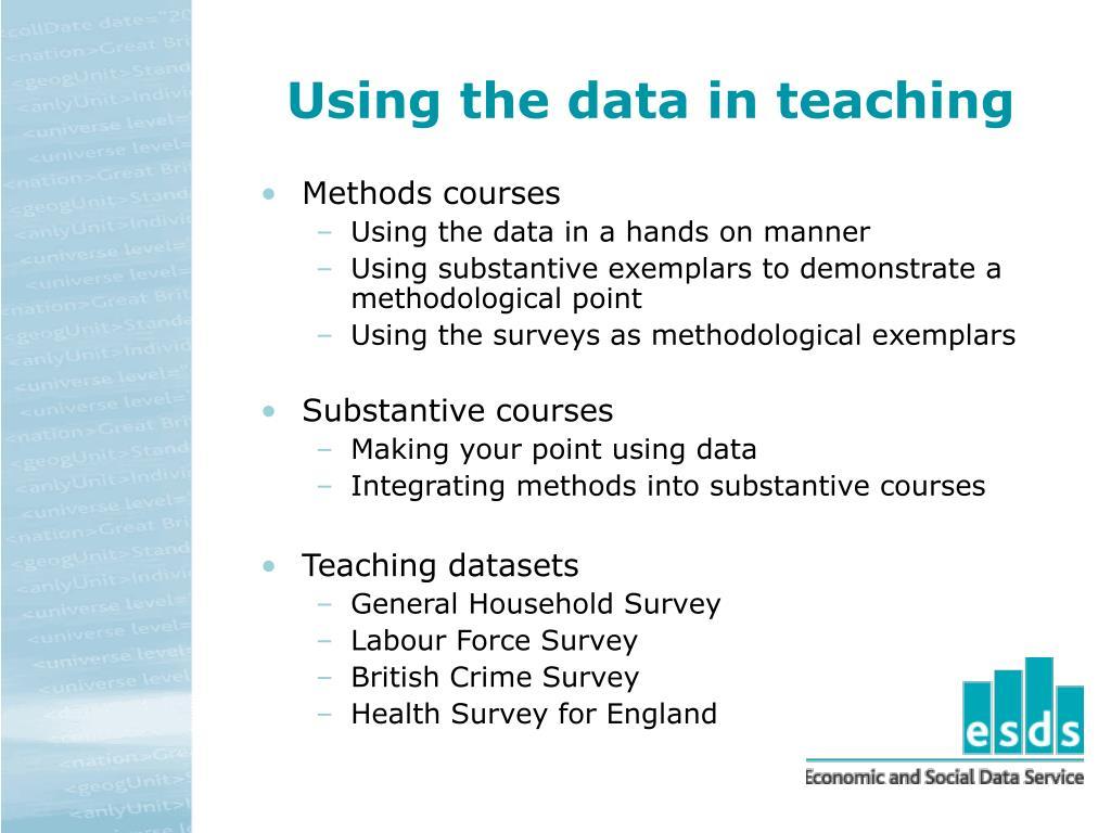 Using the data in teaching