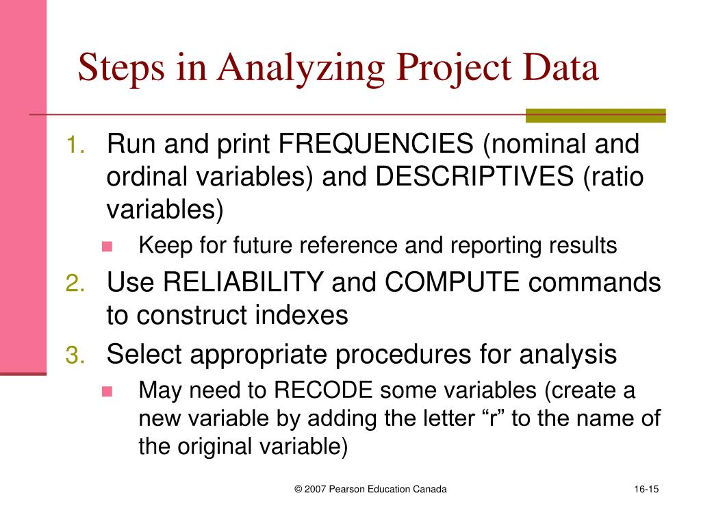 Steps in Analyzing Project Data