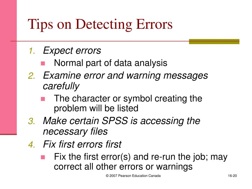 Tips on Detecting Errors