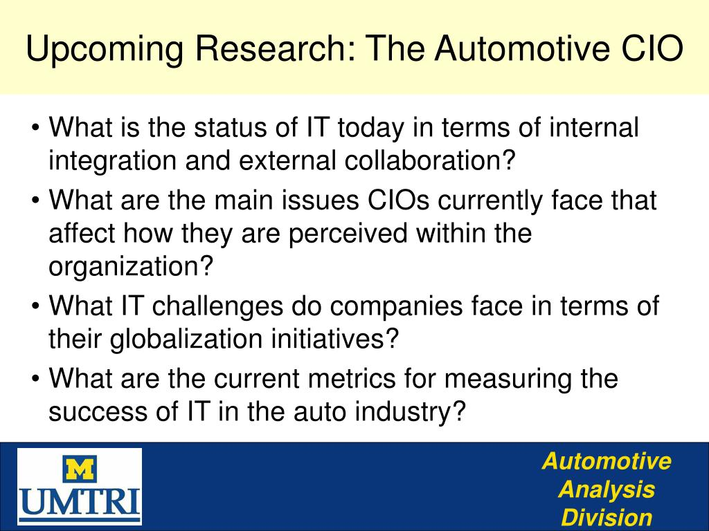 Upcoming Research: The Automotive CIO