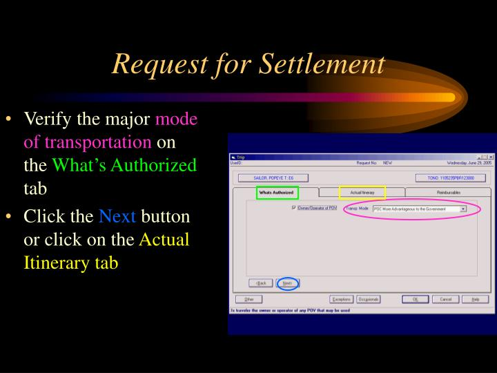 Request for Settlement