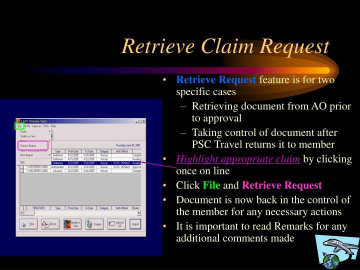 Retrieve Claim Request