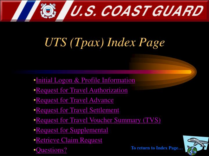 Uts tpax index page