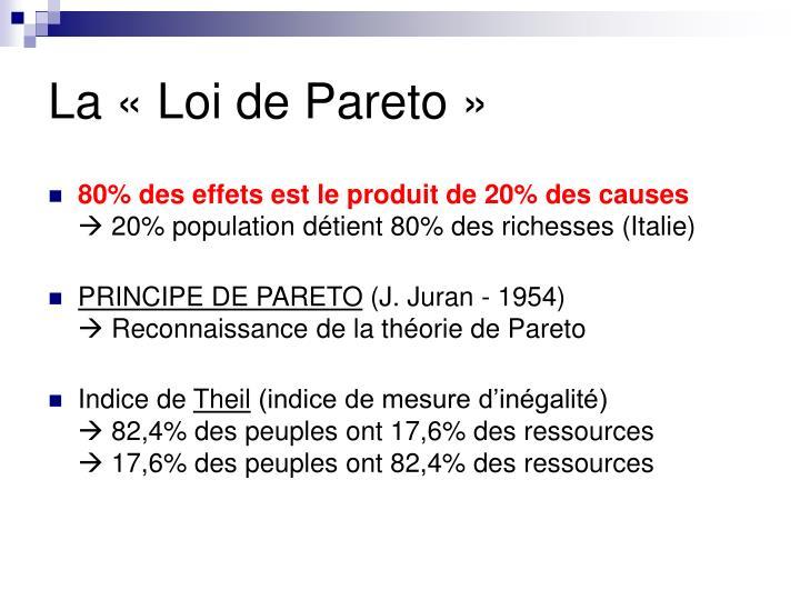 La «Loi de Pareto»