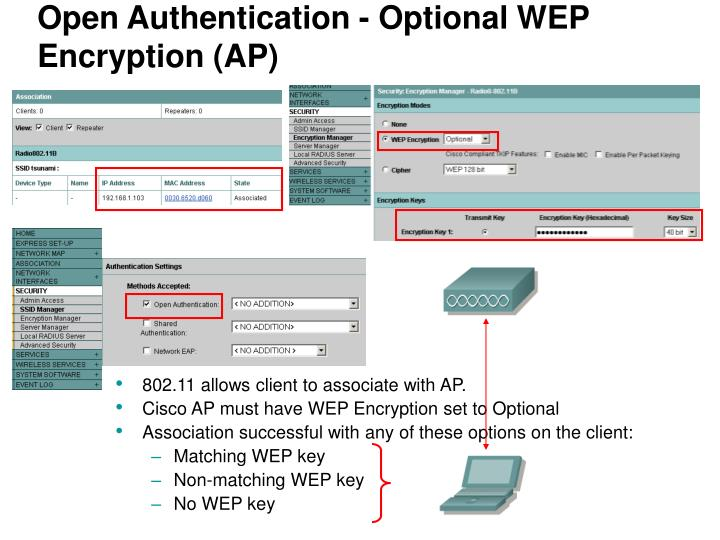 Open Authentication - Optional WEP Encryption (AP)
