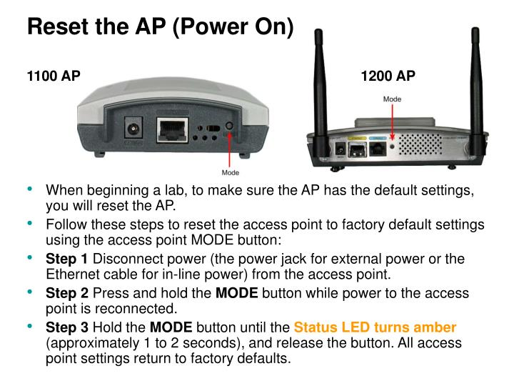 Reset the AP (Power On)