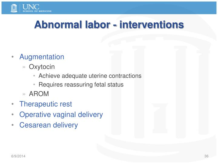 Abnormal labor - interventions