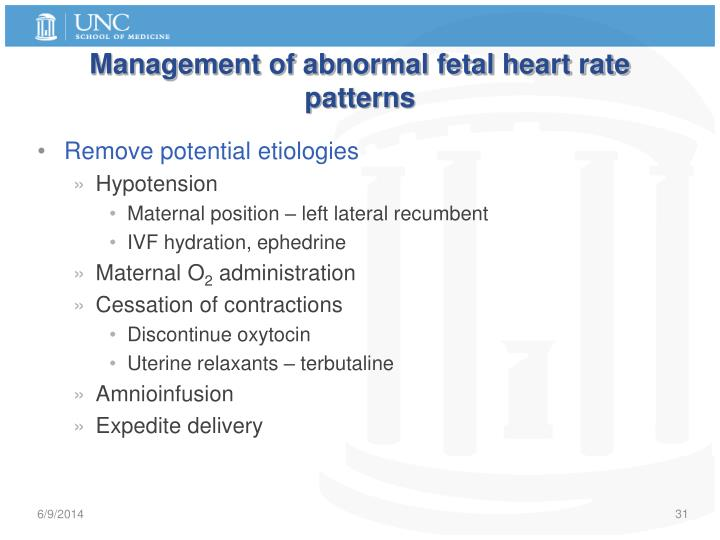 Management of abnormal fetal heart rate patterns