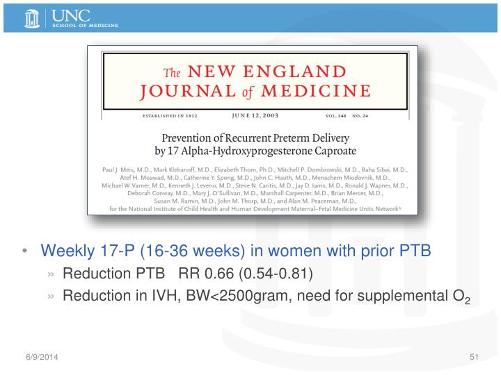Weekly 17-P (16-36 weeks) in women with prior PTB