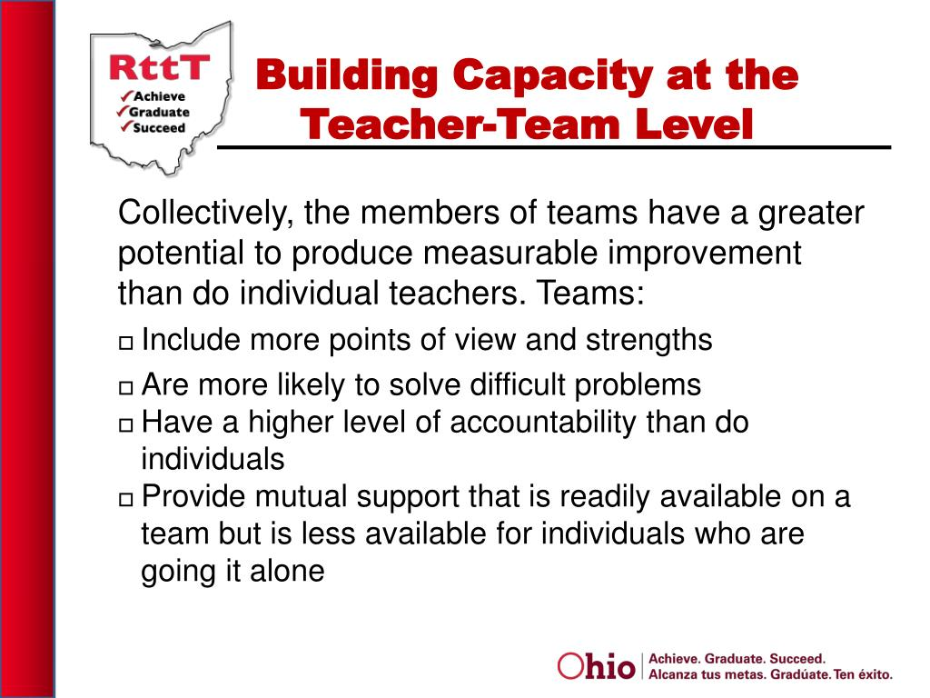 Collectively, the members of teams have a greater potential to produce measurable improvement than do individual teachers.