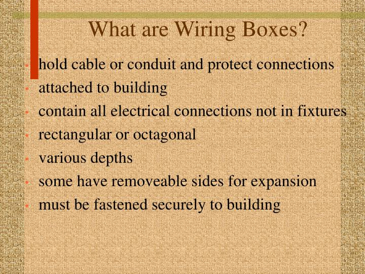 What are wiring boxes