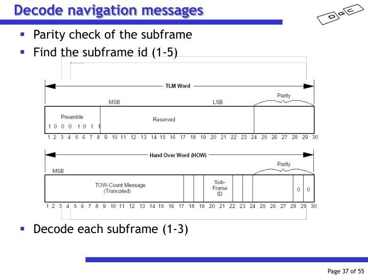 Decode navigation messages