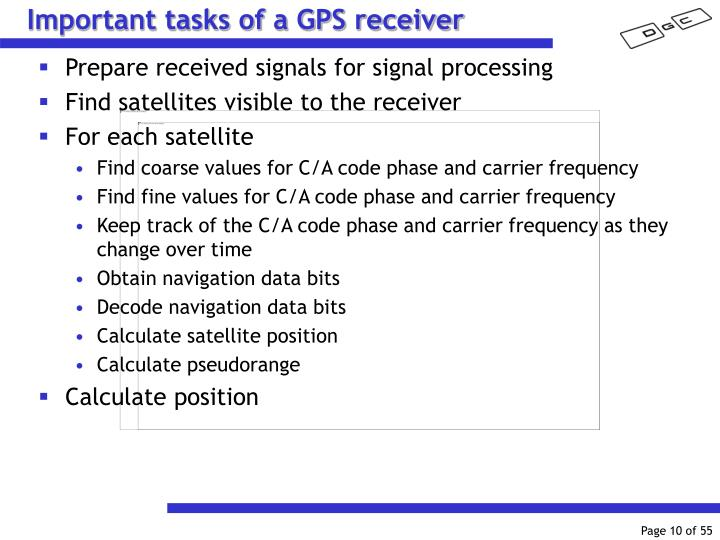 Important tasks of a GPS receiver