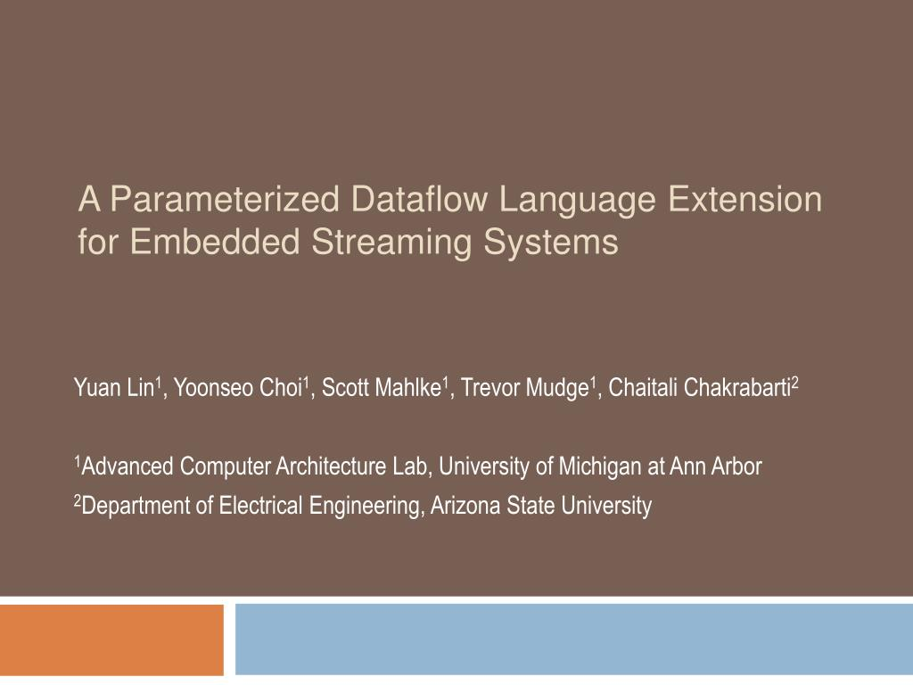 A Parameterized Dataflow Language Extension for Embedded Streaming Systems