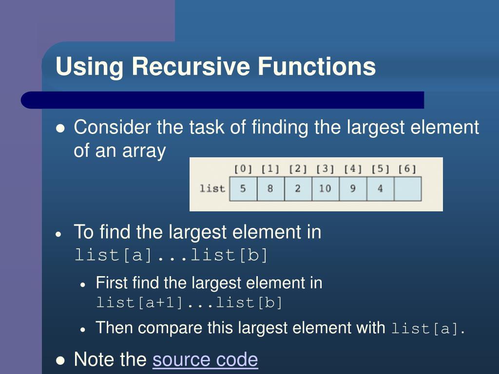 Using Recursive Functions