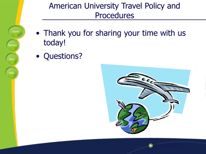American University Travel Policy and Procedures