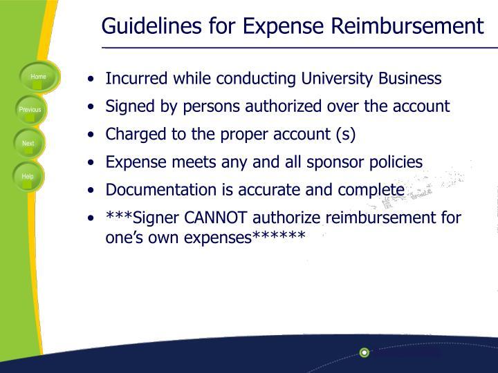 Guidelines for Expense Reimbursement