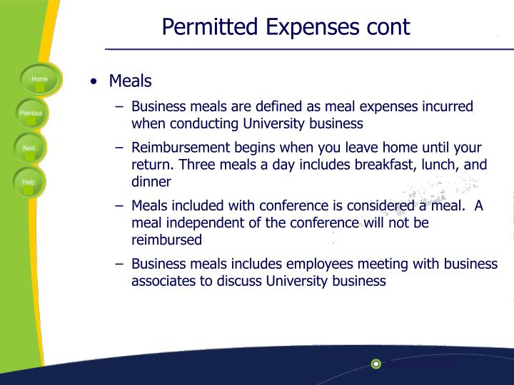 Permitted Expenses cont
