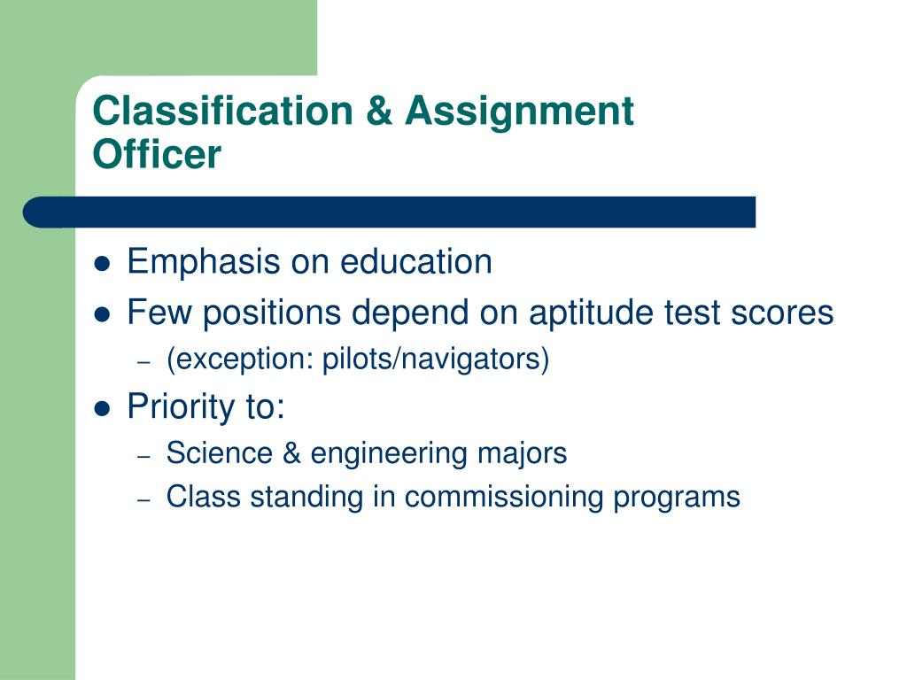 Classification & Assignment