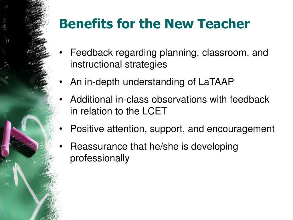 Benefits for the New Teacher
