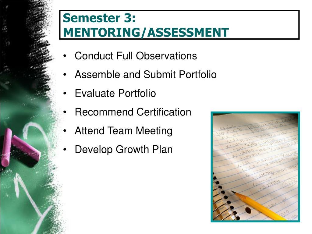 Semester 3: MENTORING/ASSESSMENT