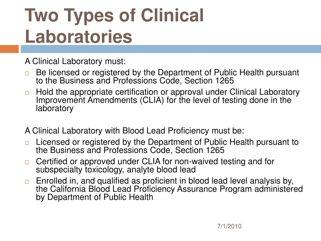Two Types of Clinical Laboratories