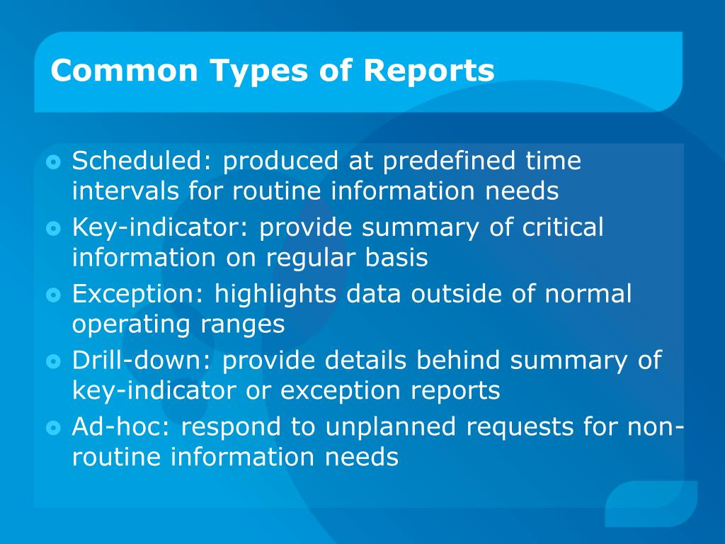 Common Types of Reports