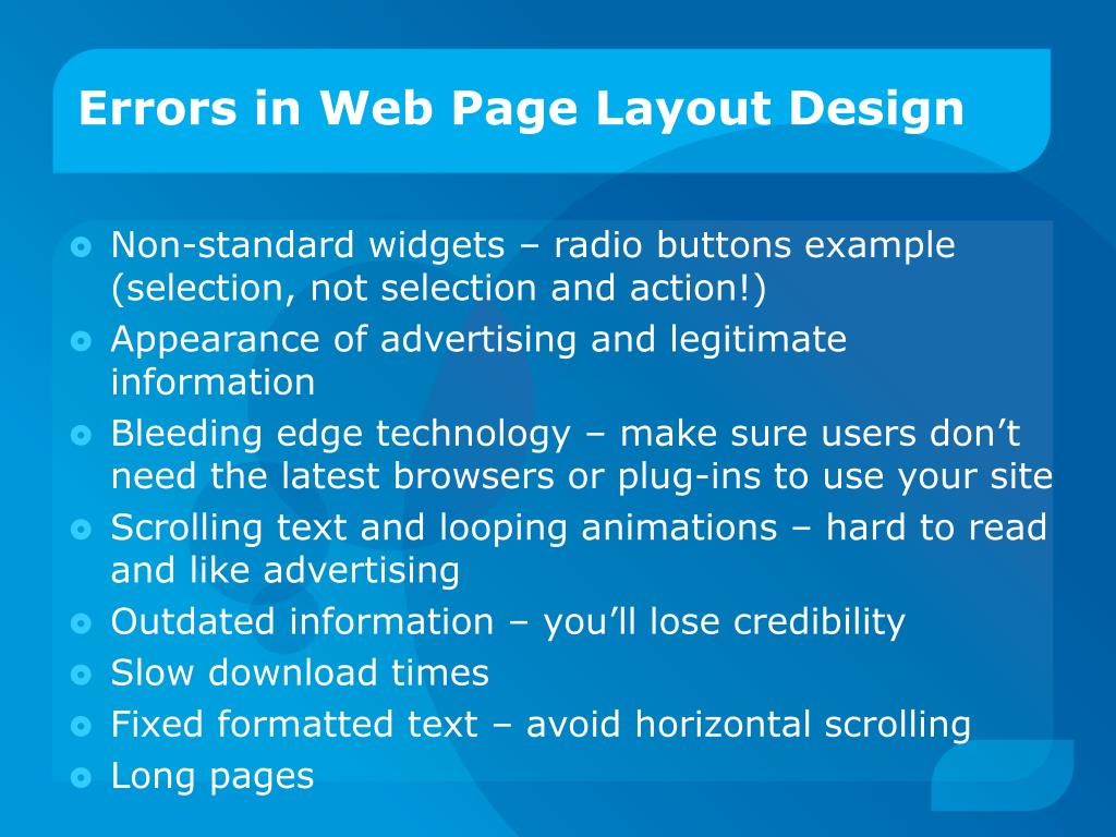 Errors in Web Page Layout Design