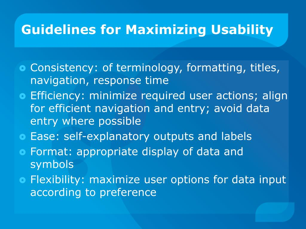 Guidelines for Maximizing Usability