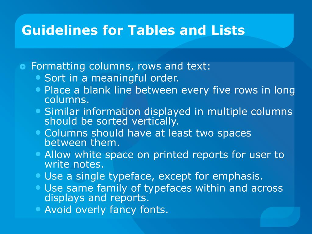 Guidelines for Tables and Lists