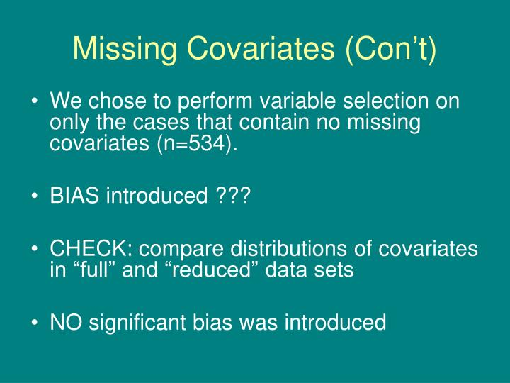 Missing Covariates (Con't)