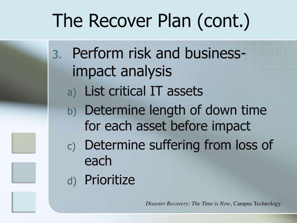 The Recover Plan (cont.)