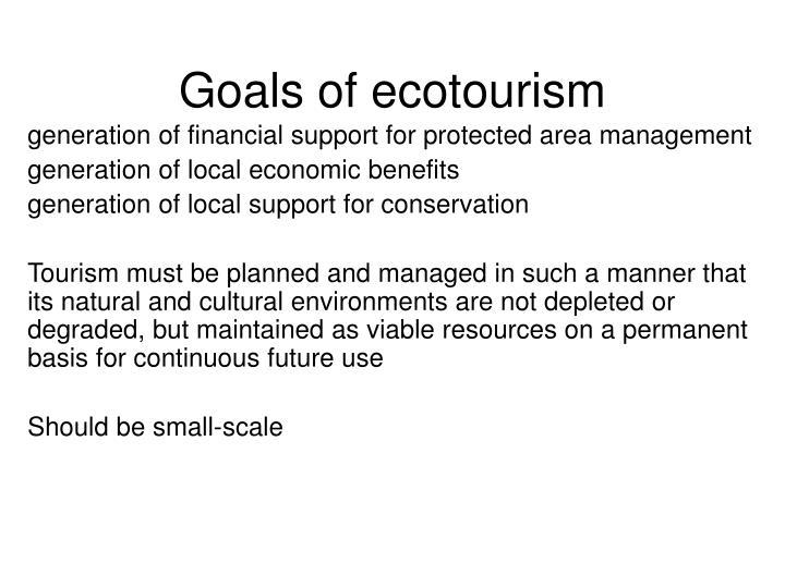 Goals of ecotourism