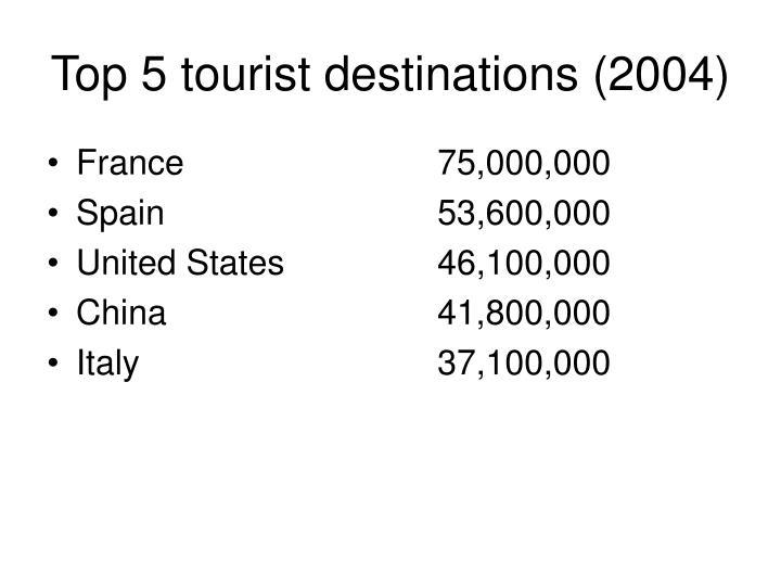 Top 5 tourist destinations (2004)