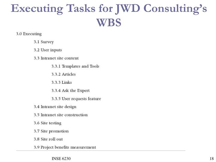 Executing Tasks for JWD Consulting's WBS