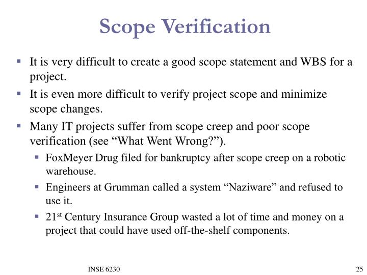 Scope Verification