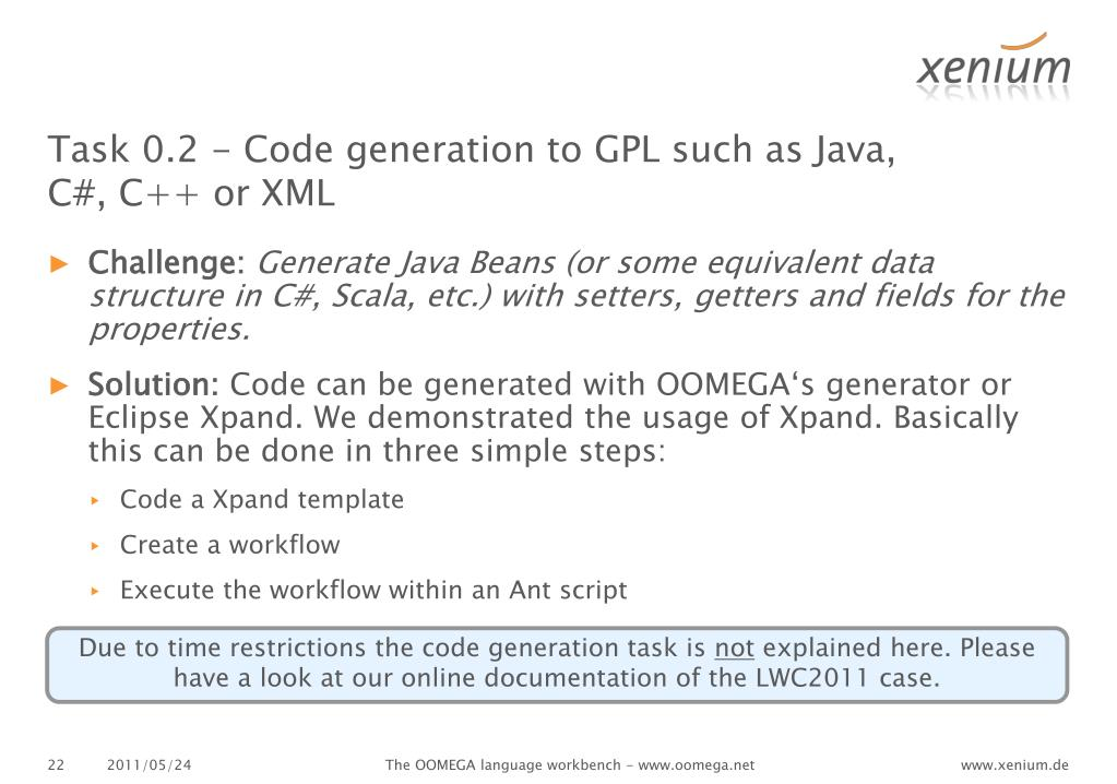 Task 0.2 - Code generation to GPL such as Java, C#, C++ or XML