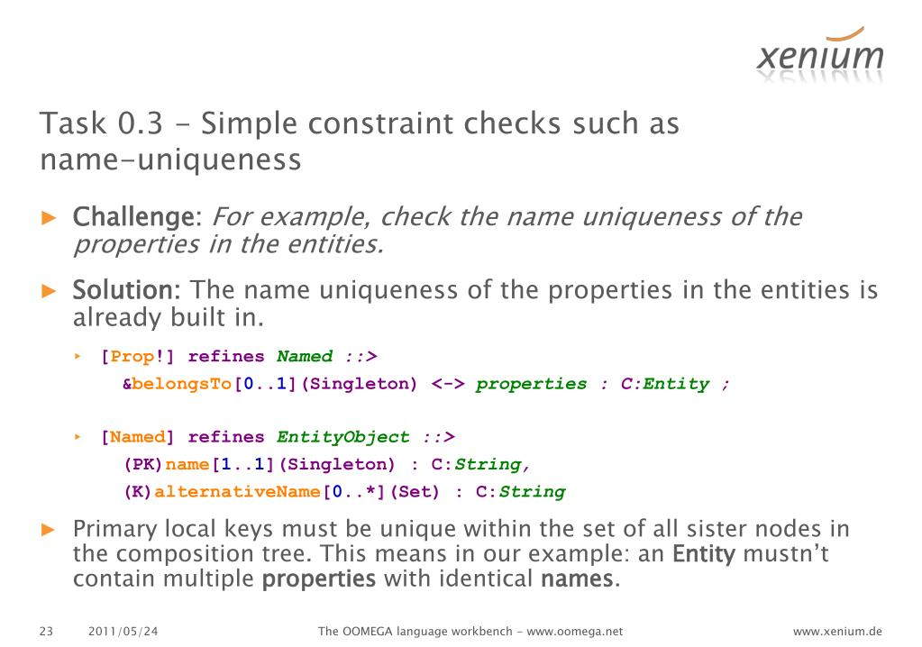 Task 0.3 - Simple constraint checks such as name-uniqueness